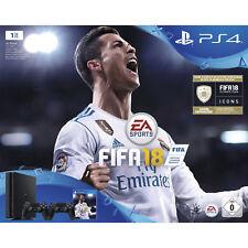 SONY PlayStation 4 1 TB Schwarz + FIFA 18 + 2. DualShock4 Controller V2 NEU OVP