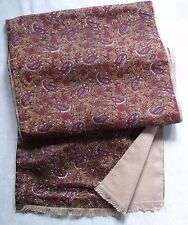 VINTAGE SCARF THINLY LINED RETRO MOD 1970s MOD BROWN PURPLE RED BEIGE PAISLEY