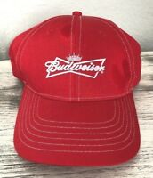 Budweiser Ball Cap Hat Red w White Stitching Adjustable Fit One Size Fits Most