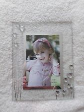 Freestanding Glass Photo Frame with metallic heart detail Brand New/ Boxed