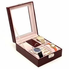 4 Slot Burgundy Leather Jewelry Watch Ring Box Case Glass Top Display Crocodile