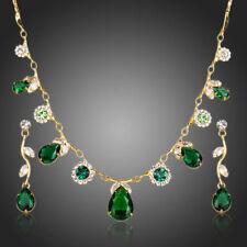 18k Gold Plated Green Cubic Zircon Stones Drop Necklace Earrings Jewellery Set
