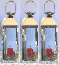 Lot of 3 Large Silver Lantern Stainless Steel Candle Holder Wedding Centerpieces
