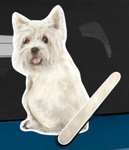 West Highland Terrier Rear Car Window Sticker With Wagging Tail To Fit Wiper Arm