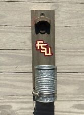 FSU Wall mount bottle cap opener Stained wood & galvanized cup