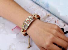 Men Women Wood Painting Peace Sign Adjustable Brown Leather Braid Bracelet