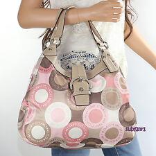 NWT Coach Soho Snaphead Large Hobo Shoulder Bag F18440 Khaki Pink Multicolor NEW