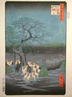 JAPANESE WOODBLOCK PRINT Hiroshige Utagawa New Year's Eve fox fire used