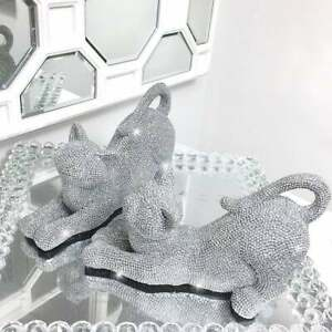 Silver Diamante Cat Bookend Studded Ornaments Stretching Animal Figures Shelf