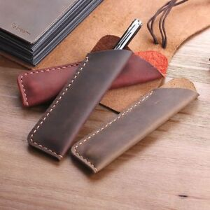 Genuine Leather Pen Case School Office Pencil Protective Bag Sleeve Holder Pouch