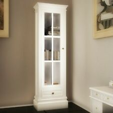 Shabby Chic Bookcase White Wooden Cabinet Storage Shelves Drawer Country Style