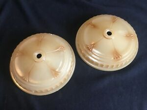"2 Antique Art Deco 6"" Round Glass Slip Shade Chandelier Fixture Light Parts"