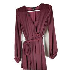 Forever 21 Long Sleeve Dress Womens Size Small Burgundy Maxi Full Length