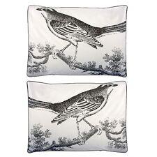 Thomas Paul Ornithology Standard Sham Set (2) 100% Cotton Sateen Gray Birds