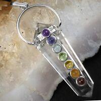 Double Terminated Quartz Crystal 7 Chakra Silver Pendant Point Stone Necklace