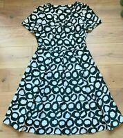 M&S PER UNA Dress Black White Circles Fit & Flare UK12 EU40