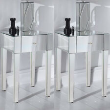 Contemporary glass bedside tables cabinets ebay 2pcs modern side table silver bedside cabinet mirrored glass one drawer uk watchthetrailerfo