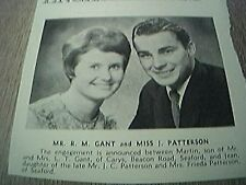 ephemera sussex 1966 engagement r m gant miss j patterson seaford