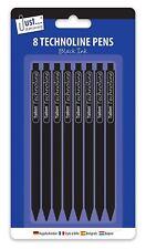 8 plumas de diseño de línea Techno-Negro retráctil Bolígrafo Línea Fina