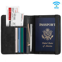 Mens Leather Wallet Purse Credit Card Passport Holder RFID Blocking Anti Scan US