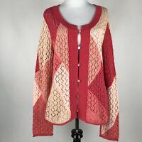 J. Jill Women Pink Orange Peach Crochet Button Long Sleeve Sweater Cardigan sz M