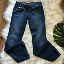 Paige Petite Womens 28 Fair Fax Boot Cut Jeans Dark Wash Denim Distressed