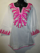 Top 1X Plus Long Tunic White and Pink Geo Design Light Cotton Kurta NWT ZA479