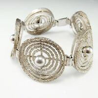 Fine Modernist Cuff Bangle Bracelet Unisex 70s Mid Century Sterling Silver R4288