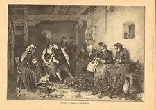 Hop Picking In Germany, Romance, Whisper, Brewery Vintage 1872 Antique Art Print