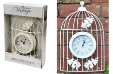 White Coated Metal Vintage Style Ornamental Bird Cage Garden Wall Clock Deco