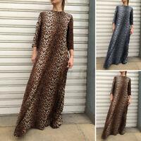 UK Plus Size Womens Baggy Kaftan Full Length Abaya Leopard Print Long Maxi Dress