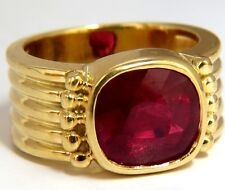 5.00ct Enhanced Ruby Greek Gesso Deco 14kt gold ring
