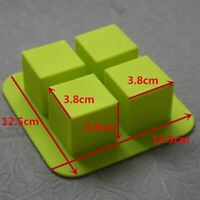 4 Cubes Silicone Muffin Mold Square Cupcake Tray Cake Baking Pan Decorating Ice