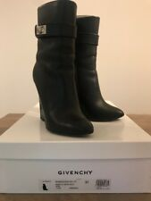 0359c83d0e60 Used Givenchy Shark Lock Leather Wedge Ankle Bootie 11CM