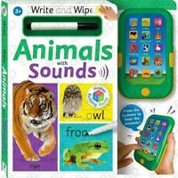 Write & Wipe: Animals with Press Sounds Ages 3+ Educational Learn Play Fun Spell