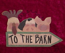 TO THE BARN *** WOOD PLAQUE *** CHICKEN * COW * PIG * WIRE HANGER ** NEW ** CUTE