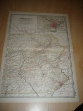 Antico Colorato Mappa del New Jersey c.1890's Inc. JERSEY CITY, Newark, PATERSON