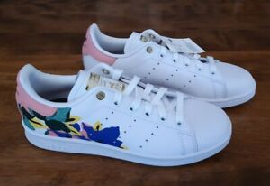Adidas Orig Stan Smith Women's White Floral Leather Shoes Spring Flowers FW2522