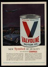 1962 VALVOLINE - World's Finest Oil - Futuristic Jet Airplane - Car - VINTAGE AD