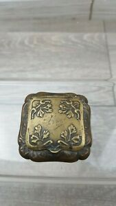Victorian Art Nouveau leaves Detail Tiny Brass Powder compact Beveled Mirror