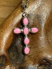 Sterling Silver Pink Cross Necklace