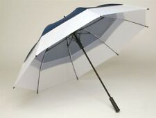 Golf Umbrella Wind Vented Canopy Fibreglass Windproof - Auto - Navy Blue & White