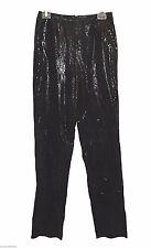 Pants, ISABEL U.S.A., Black Genuine-leather Shiny Floral-Patter Awesome NWOT, 6