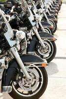 Police Motorcycles Lined Up in a Row Photo Art Print Poster 24x36 inch
