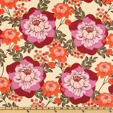 Magnificent LARGE RED & PINK FLORAL Fabric (55cm x 50cm) Sandi Henderson/Miller