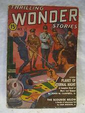 October 1939 vintage THRILLING WONDER STORIES pulp magazine John Campbell Sci-Fi