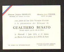 """PARIS CARTE D'INVITATION à la PRESENTATION des BRONZES de """"GUALTIERO BUSATO"""""""