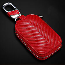 Smart Key Holder Cover Car Key Chain Bag Genuine Leather Remote Fob Zipper Case