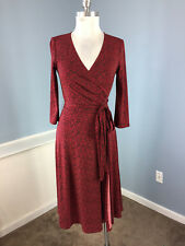 max and Cleo BCBG Red print faux wrap dress XS Career Cocktail 3/4 slv flare EUC