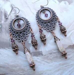 Gypsy Moon Designs Handcrafted Pale Lavender Chandelier Earrings Boho Hippie